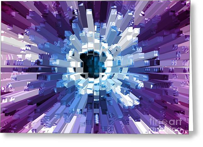 Extrusion Abstract Blue Purple Plum Greeting Card by Natalie Kinnear