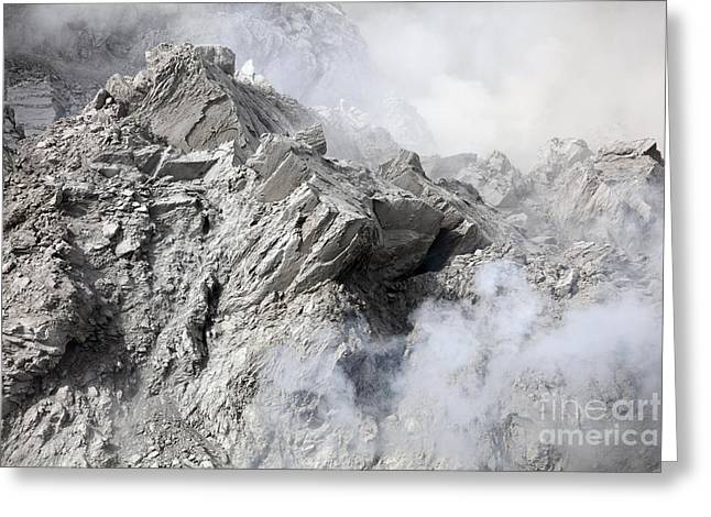 Extrusion Lobe On Rerombola Lava Dome Greeting Card by Richard Roscoe
