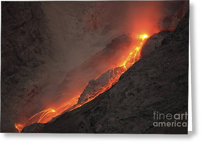 Extrusion Of Lava On Glowing Rockfalls Greeting Card by Richard Roscoe