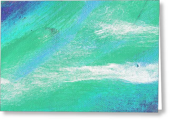 Exuberant Aqua Blue Valley Greeting Card by L J Smith