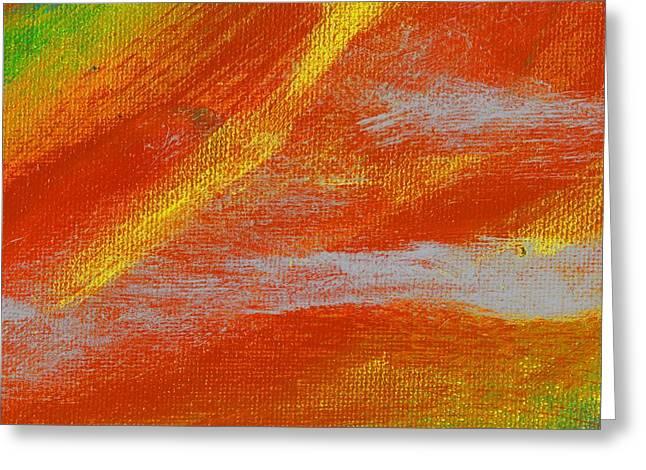 Exuberant Yellow Orange Greeting Card by L J Smith