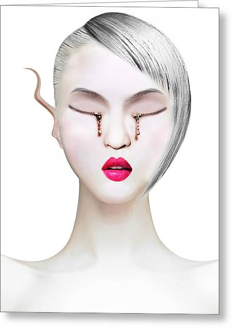 Eye And Zipper Greeting Card by Yosi Cupano