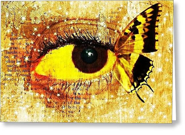 #eye #butterfly #brown #black #edit Greeting Card
