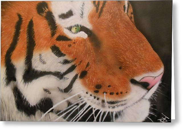 Eye Of A Tiger Greeting Card by Michael Hall