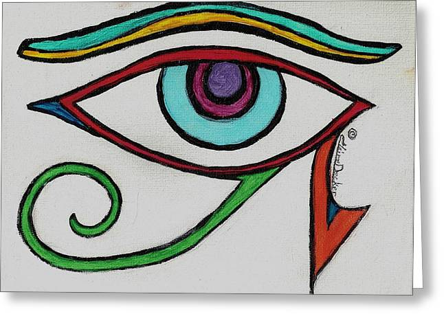 Eye Of Horus Greeting Card by Claire Decker