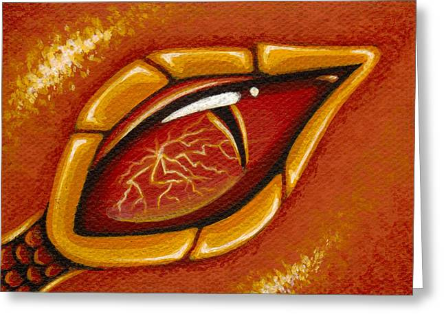 Eye Of The Fiery Lightning Dragon Greeting Card by Elaina  Wagner