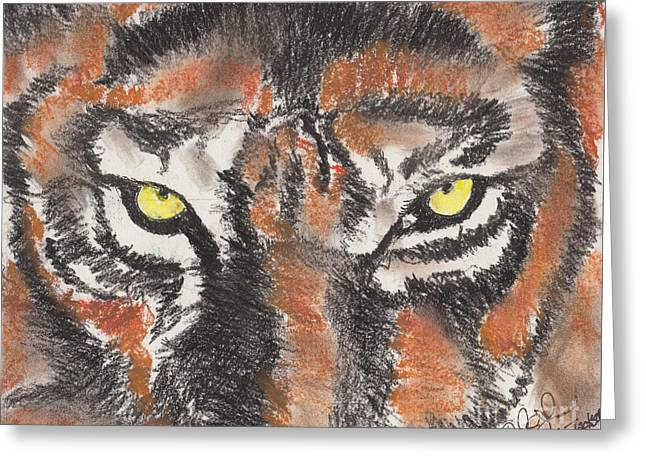 Eye Of The Tiger Greeting Card by David Jackson