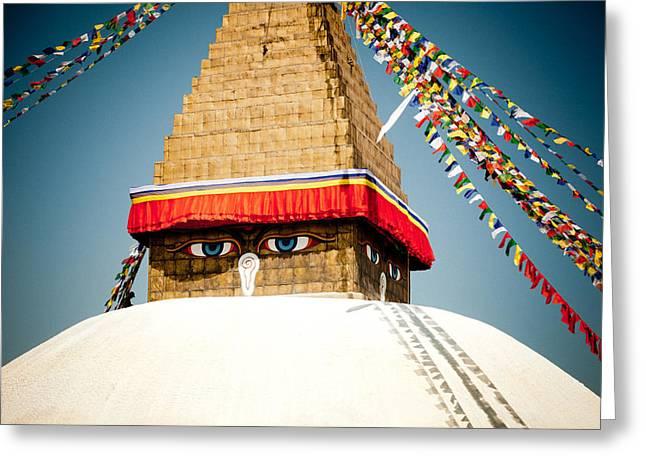 Eye Of Tibetan Stupa Boudnath And Buddhist Prayer Flags  Greeting Card