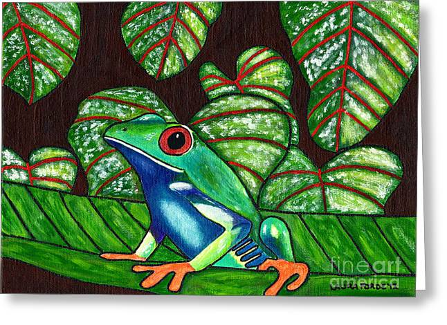 Greeting Card featuring the painting Eye On You by Laura Forde