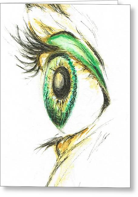 Greeting Card featuring the painting Eye Opener by Teresa White