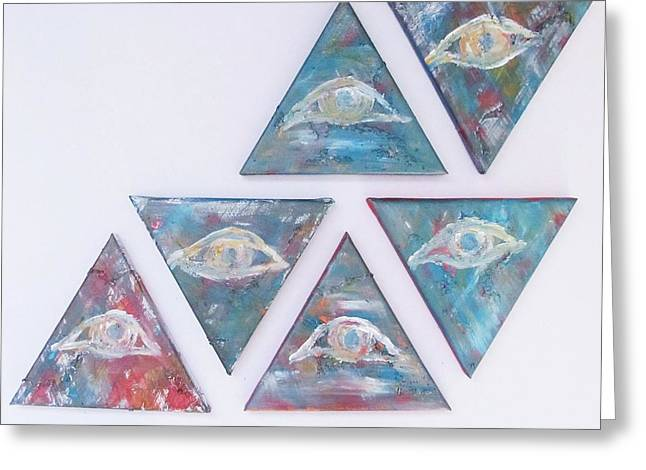 Eye - Set Of 6 Original Oil Painting On Stretched Canvas Greeting Card by Marianna Mills