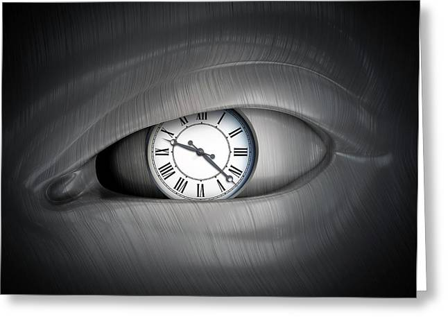 Eye With Clock Greeting Card