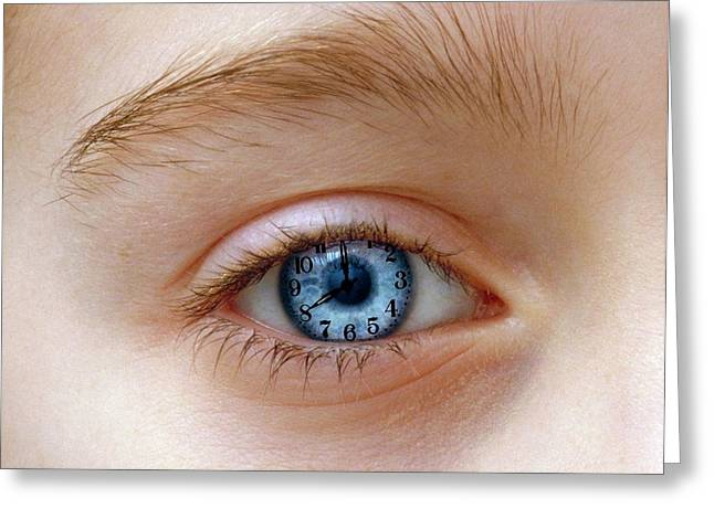 Eye With Clock Greeting Card