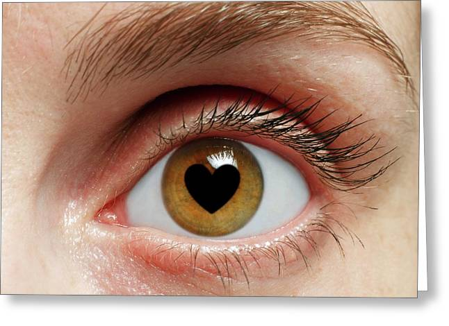 Eye With Heart Greeting Card by Victor De Schwanberg