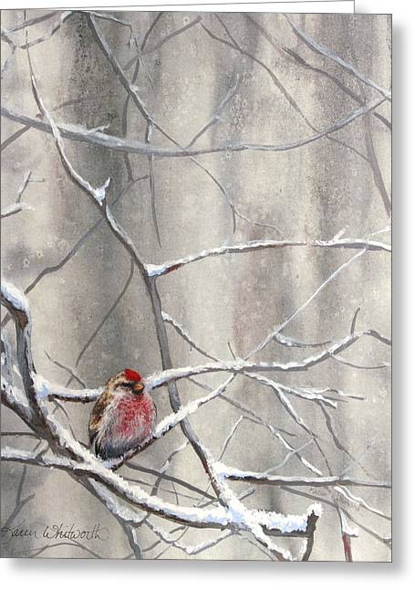 Eyeing The Feeder Alaskan Redpoll In Winter Greeting Card by Karen Whitworth