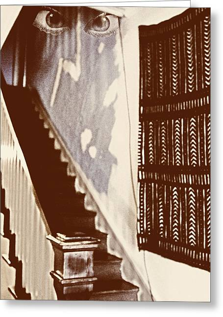 Greeting Card featuring the photograph Eyes At The Top Of The Stairs by Bob Pardue
