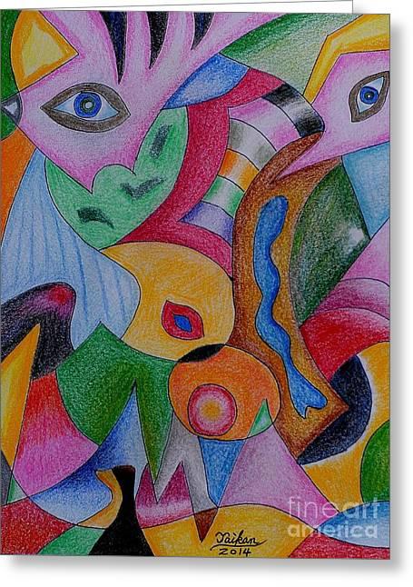 Eyes By Taikan Greeting Card by Taikan Nishimoto