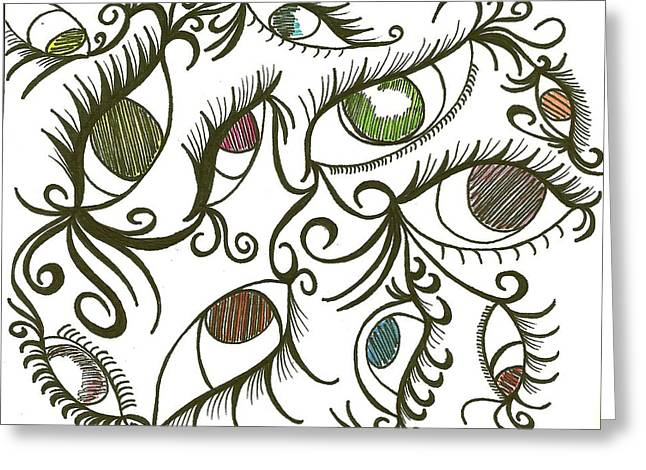 Eyes Galore Greeting Card by Angie Oviedo