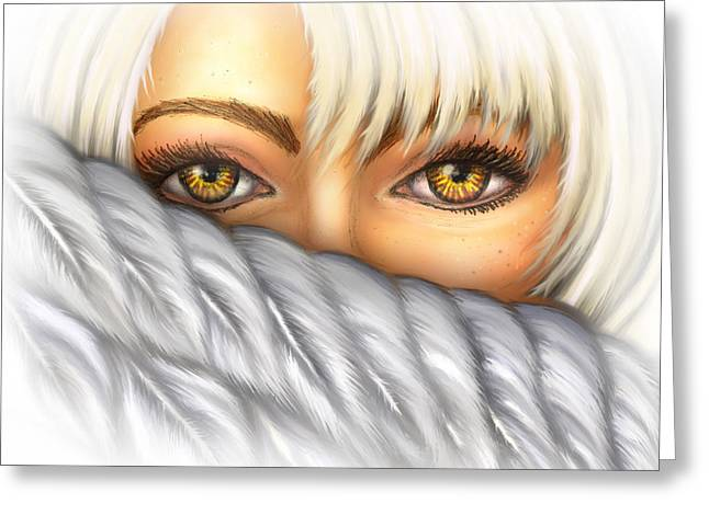 Eyes Of Gold Greeting Card by Tricia Shanabruch