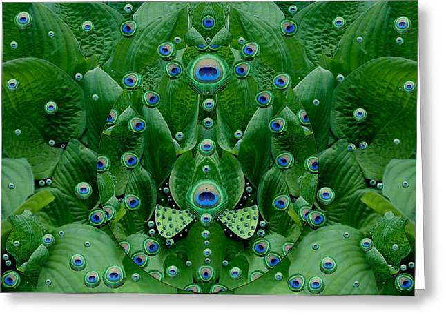 Eyes Of The Hidden Peacock Greeting Card by Pepita Selles