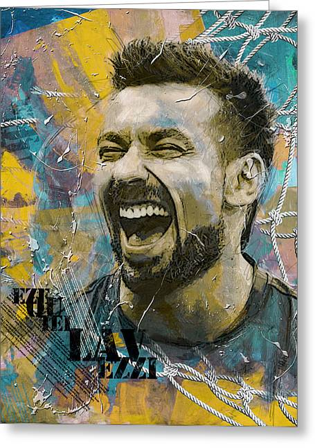 Ezequiel Lavezzi Greeting Card by Corporate Art Task Force