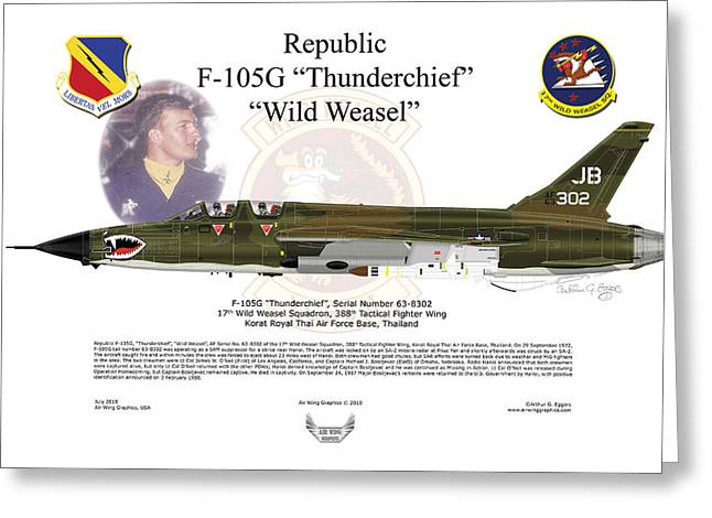 F-105g Thunderchief Wild Weasel Greeting Card by Arthur Eggers