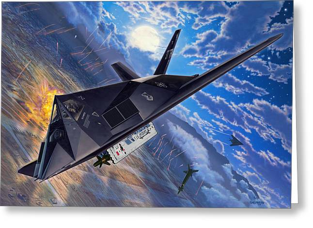 F-117 Nighthawk - Team Stealth Greeting Card by Stu Shepherd