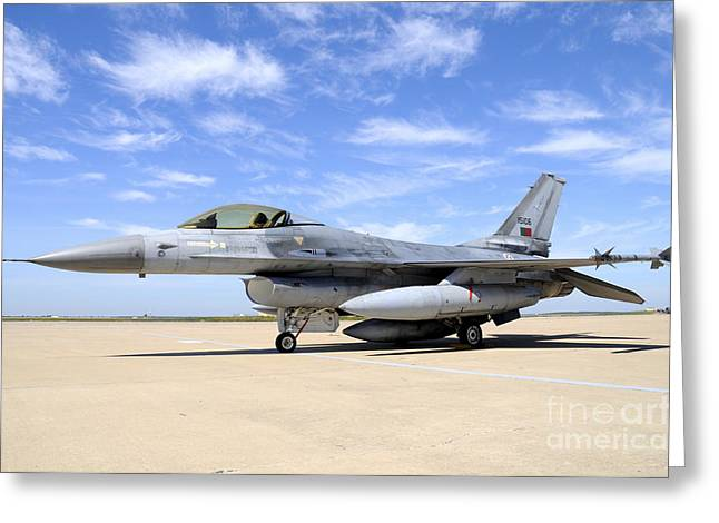 F-16a Falcon From The Portuguese Air Greeting Card by Riccardo Niccoli