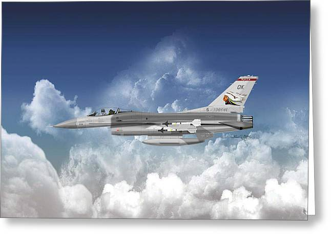 F-16c Falcon Greeting Card by Arthur Eggers