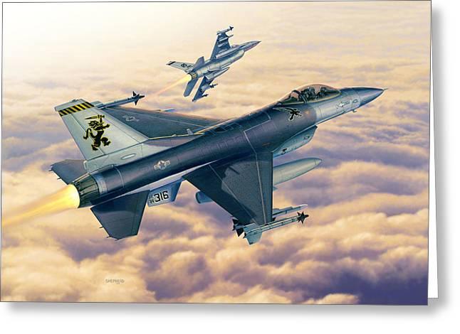 F-16c Sunset Falcons Greeting Card by Stu Shepherd