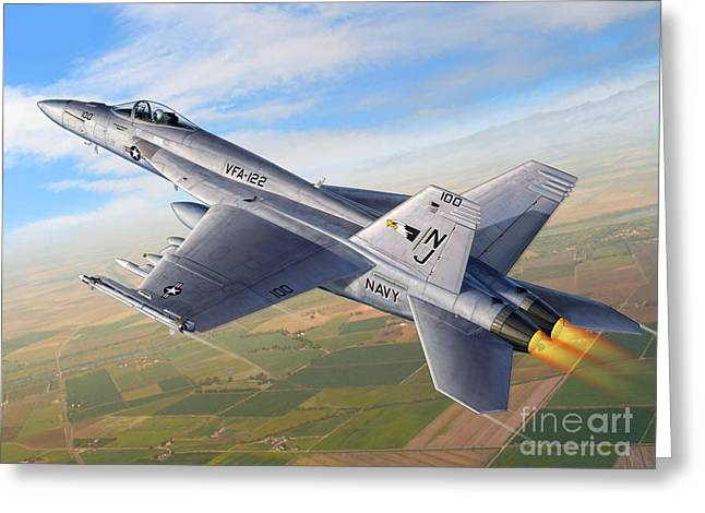 F-18e Over The Valley Greeting Card by Stu Shepherd