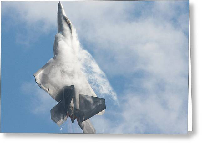 Greeting Card featuring the photograph F-22 Raptor Creates Its Own Cloud Camouflage by Nathan Rupert