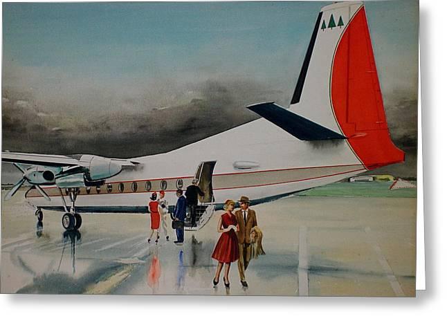F-27 At Columbus Ohio Greeting Card by Frank Hunter