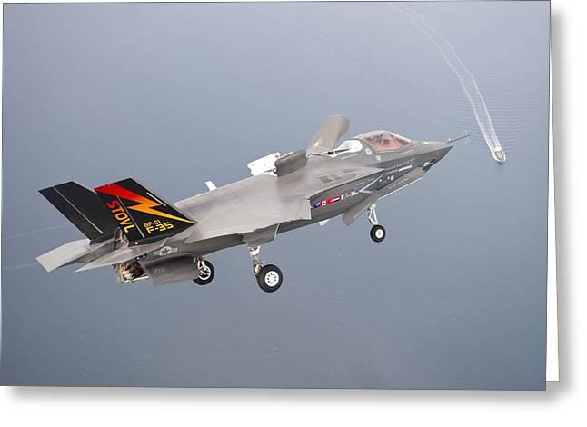 F 35 Final Approach Us Assault Carrier Greeting Card