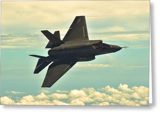 F 35 Joint Strike Fighter Lightening II Banking Enhanced Greeting Card