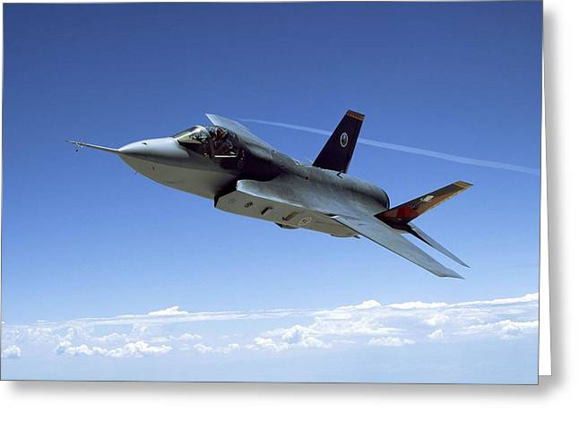 F 35 Joint Strike Fighter Amber Indigo Red Fins Enhanced Greeting Card by US Military - L Brown