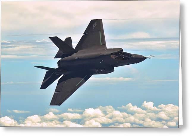 F 35 Joint Strike Fighter Lightening II Banking Enhanced II Greeting Card