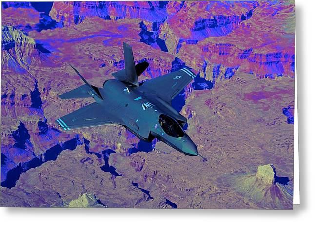F 35 Joint Strike Fighter Lightening II Enhanced II Greeting Card