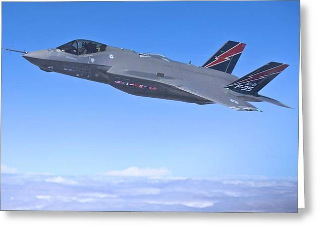 F 35 Joint Strike Fighter Lightening II Red And Indigo Vertical Angled Stabilizers Enhanced Greeting Card