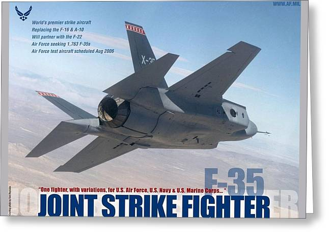 Lockheed Martin F-35 Joint Strike Fighter Lightening II With Text Greeting Card by L Brown