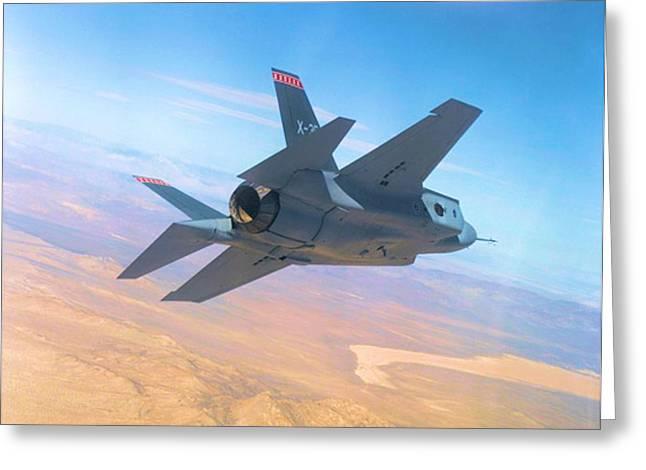 F 35 Strike Fighter Enhanced Greeting Card