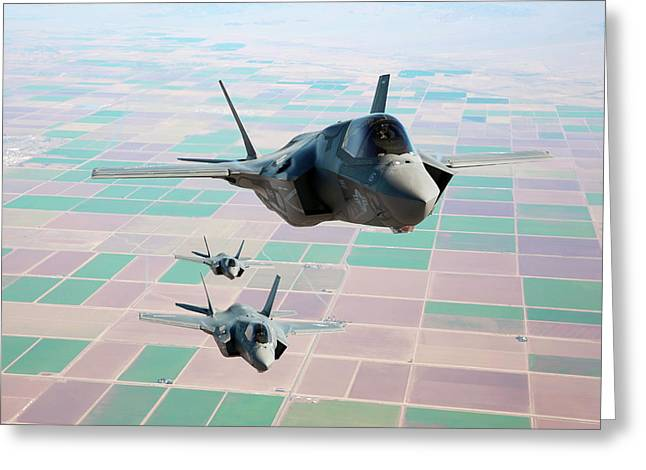 F-35b Fighter Jets Greeting Card by Us Defense