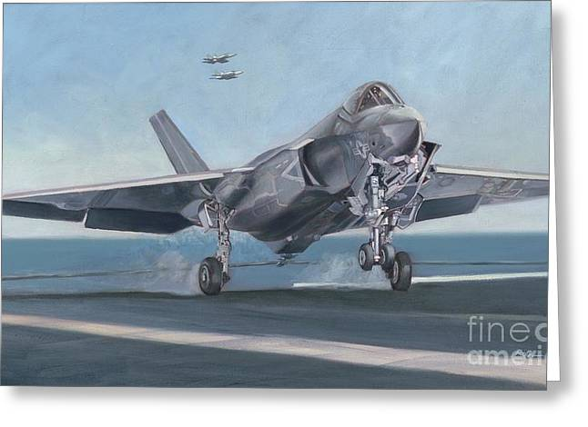 Greeting Card featuring the painting F-35c Carrier Landing by Stephen Roberson