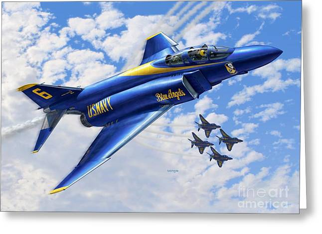 F-4 Phantoms In Blue Greeting Card