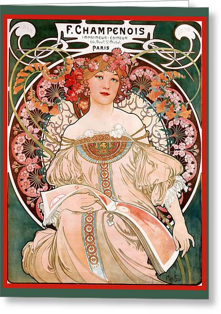 F Champenois Imprimeur Editeur Greeting Card by Alphonse Maria Mucha