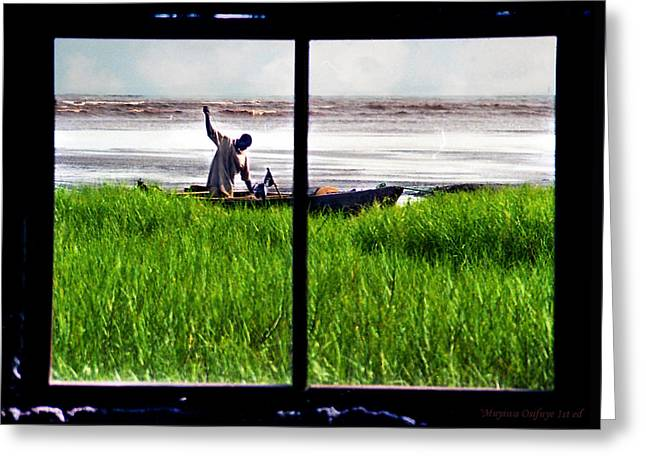 Fisherman Window Framed Greeting Card