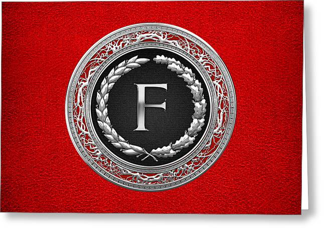 F - Silver Vintage Monogram On Red Leather Greeting Card