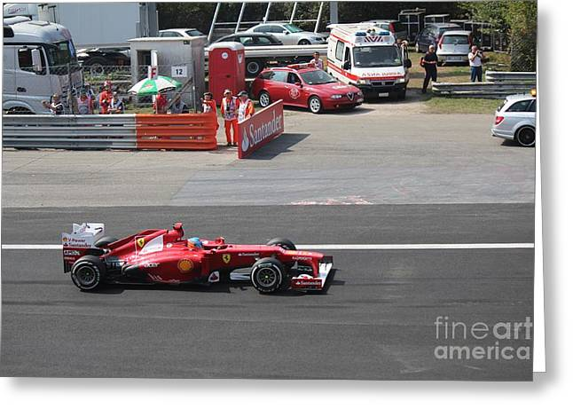 F1 - Fernando Alonso  -  Ferrari Greeting Card by David Grant