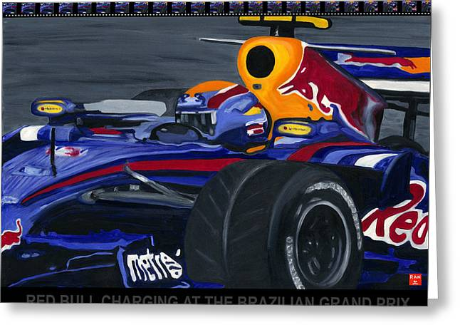 F1 Rbr At The Brazilian Grand Prix Greeting Card