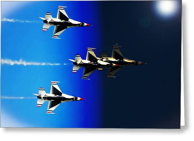 Greeting Card featuring the photograph F16 Flight Into Space by DigiArt Diaries by Vicky B Fuller